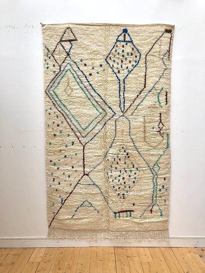 Tapis berbère Azilal écru à motifs bleus et verts