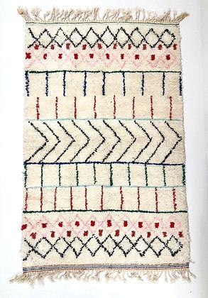 Tapis berbère marocain Beni Ouarain à motifs colorés 2,37x1,52m