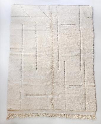Tapis berbère Beni Ouarain écru uni à lignes gravées 3,15x2m