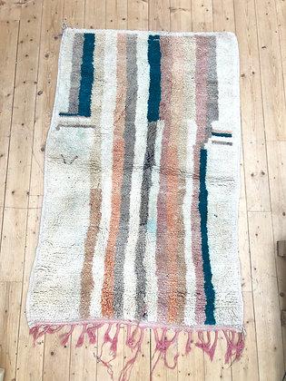 Tapis berbère Boujaad à lignes pastels colorées 1,75x1,09m