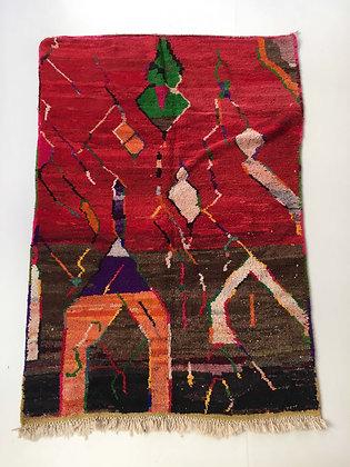 Tapis berbère Boujaad brun et rouge à motifs colorés 2,52x1,56m