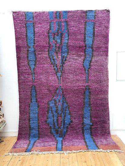 Tapis berbère Boujaad violet, bleu et noir 3,1x1,92m
