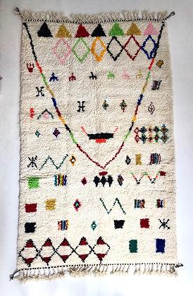 Tapis berbère Beni Ouarain à motifs colorés 2,43x1,48m