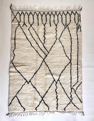 Tapis berbère Beni Ouarain à motifs graphiques noirs 2,35x1,65m