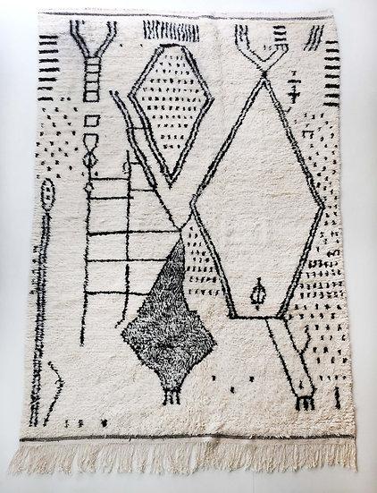 Tapis berbère Azilal écru à motifs noirs 3,07x1,87m
