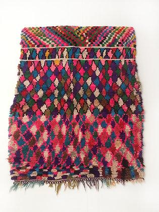Tapis berbère Boucherouite à motifs colorés 1,42x1,10m