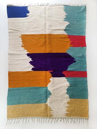 Kilim berbère écru à aplats colorés 2,90x1,79m