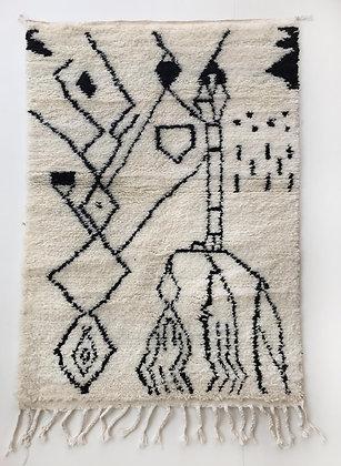 Tapis berbère Azilal à motifs graphiques noirs 1,53x1,03m