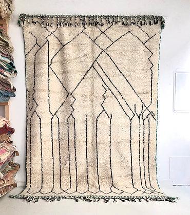 Tapis berbère Beni Ouarain à motifs graphiques noirs 2,97x2,04m