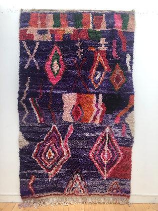 Tapis berbère Boujaad violet à motifs colorés 2,53x1,59m
