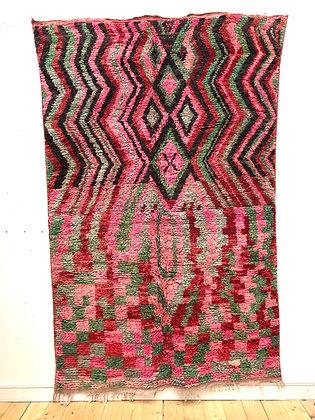 Tapis berbère Boujaad rose, vert et noir 2,5x1,59m