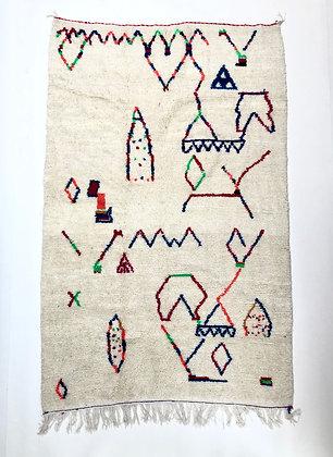 Tapis berbère marocain Azilal à motifs colorés 2,43x1,51m