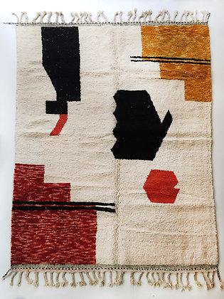 Tapis berbère Beni Ouarain écru à motifs colorés 2,90x2,19m