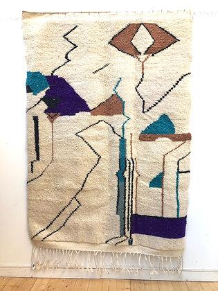 Tapis berbère Beni Ouarain écru à motifs colorés 2,32x1,66m