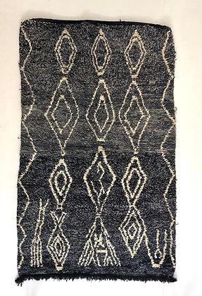 Tapis berbère Beni Ouarain gris chine à motifs 2,43x1,48m