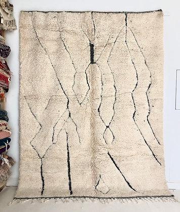 Tapis berbère Beni Ouarain à lignes gravées dans la trame 2,81x2,15m