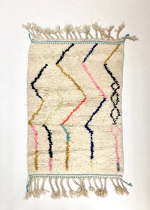 Tapis berbère Beni Ouarain à motifs colorés 1,49x0,98m