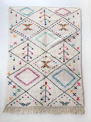 Tapis berbère Azilal écru à motifs colorés 2,52x1,59m