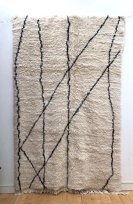 Tapis berbère Marmoucha à motifs libres noirs 2,57x1,62m