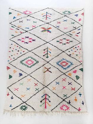 Tapis berbère Azilal écru à motifs colorés 2,61x1,62m