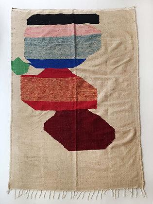 Kilim berbère écru à aplats colorés 2,92x1,94m