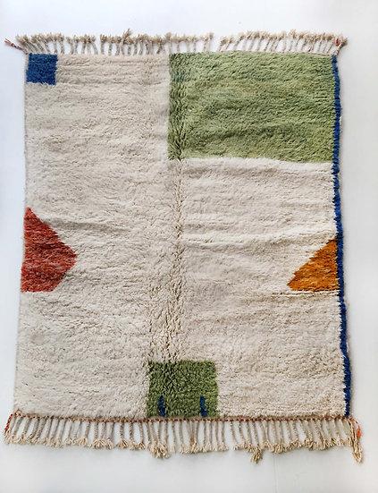 Tapis berbère Beni Ouarain écru à motifs colorés 2,07x1,66m