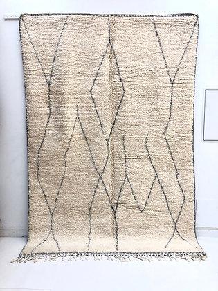 Tapis berbère Beni ouarain à motifs libres gris clair 2,88x1,99m