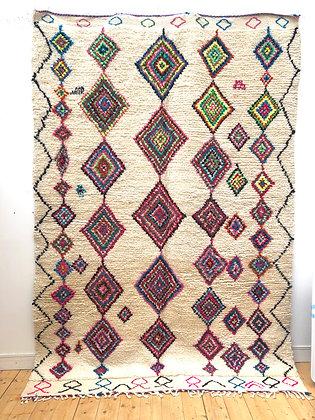 Tapis berbère Azilal à losanges colorés 2,89x1,98m