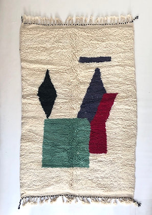 Tapis berbère Beni ouarain à motifs colorés 2,52x1,64m