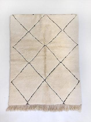 Tapis berbère marocain Beni Ouarain écru à motifs 2,02x1,42m