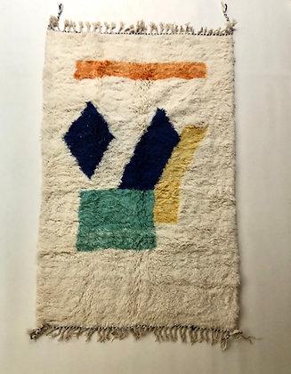 Tapis berbère marocain Beni Ouarain à motifs colorés 2,43x1,53m