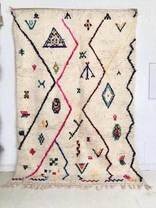 Tapis berbère marocain Azilal à motifs colorés 2,90x1,97m