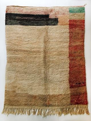 Tapis berbère Boujaad écru à motifs colorés 2,85x2m