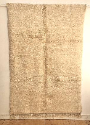 Tapis berbère Beni Ouarain uni écru sans motifs 2,46x1,67m