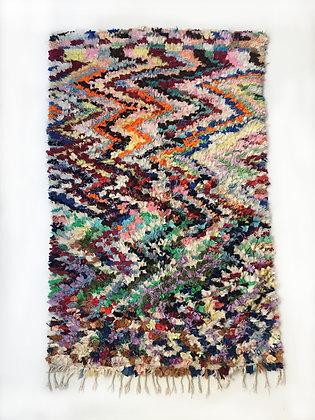Tapis berbère Boucherouite à motifs colorés 2,10x1,30m