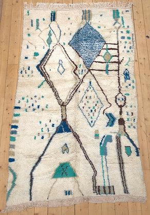 Tapis berbère Azilal écru à motifs bleus et verts 2,35x1,43m