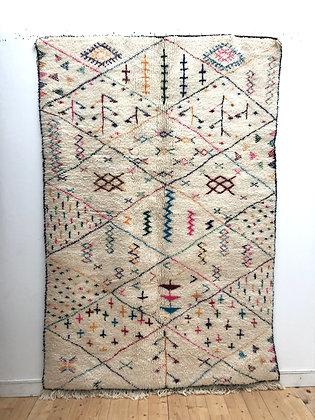 Tapis berbère Beni Ouarain à motifs colorés 2,57x1,70m