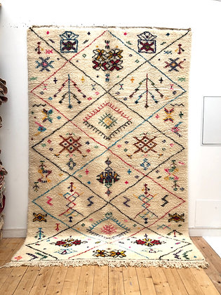 Tapis berbère Beni Ouarain à motifs colorés 3,15x2,01m