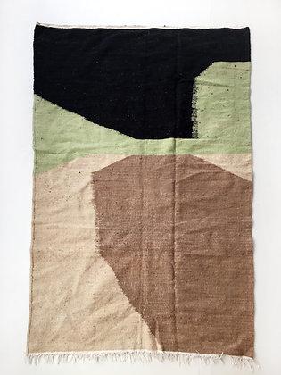 Kilim berbère écru à aplats colorés 2,44x1,43m