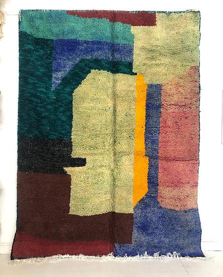 Tapis berbère Boujaad a aplats colorés 2,7x2,02m