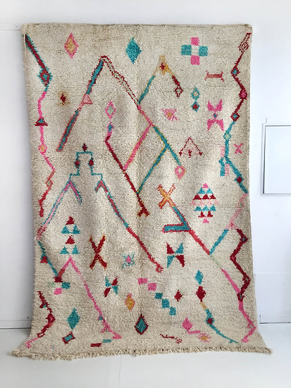 Tapis berbère Boujaad à motifs colorés 2,79x1,88m