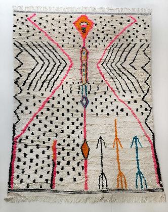 Tapis berbère Azilal écru à motifs colorés 2,90x1,86m