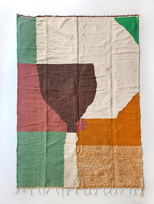 Kilim berbère écru à aplats colorés 2,84x1,84m