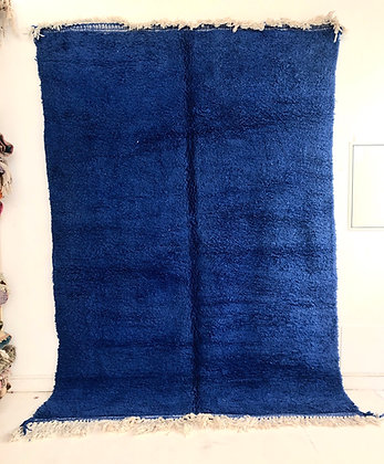 Tapis berbère Beni Ouarain bleu intense uni 3,11x2,07m