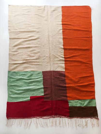 Kilim berbère écru à aplats colorés 3x1,88m