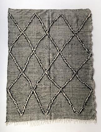 Kilim berbère Zanafi écru et noir 2,72x1,89m