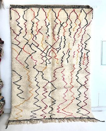 Tapis berbère Beni Ouarain à lignes colorées 2,89x1,97m