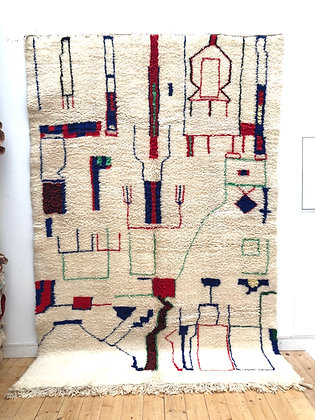 Tapis berbère Beni Ouarain à motifs colorés 3,02x2,05m