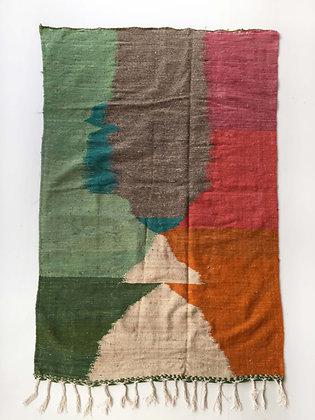 Kilim berbère à aplats colorés 2,38x1,43m
