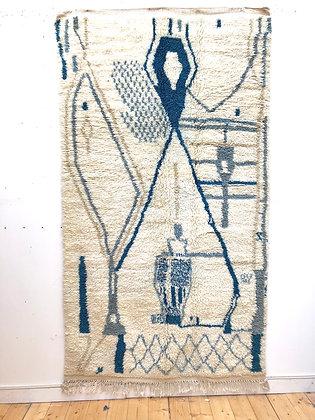 Tapis berbèreAzilal écru à motifs en nuances de bleu 2,51x1,42m